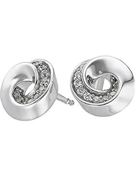 JETTE Silver Damen-Ohrstecker Twisted 925er Silber 20 Zirkonia One Size, silber