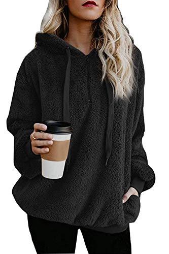ReachMe Sherpa-Pullover für Damen, Fleece, Übergroße Taschen - Schwarz - Groß -