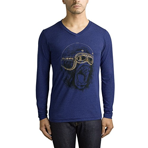 GOM Paris Herren Langarmshirt Crazy monkey / Navy chiné motif or