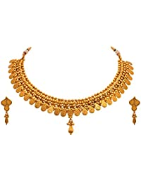 JFL - Traditional Ethnic Temple Laxmi Goddess One Gram Gold Plated Bead Designer Necklace Set With Earring For...