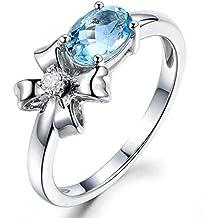AnazoZ Oval Cut 6X8MM Topacio Azul Anillo Compromiso Anillo Flor Anillo Mujer Plata de Ley 925