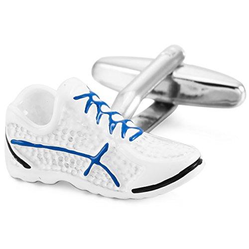 MunkiMix 2 Pièce Plaqué Rhodium Boutons De Manchette Blanc Bleu Ton d'argent Sportif Sports Chaussures Chemise Mariage Business Homme