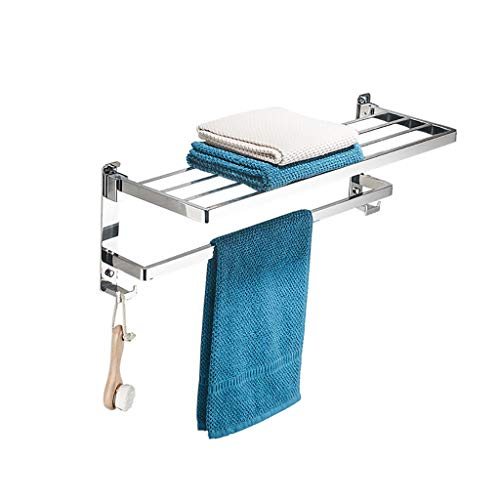 Handtuchhalter Perforiertes 304 Edelstahl-Badezimmer-Badezimmer-faltendes Badezimmer-Rack 2 Doppelter Anhänger