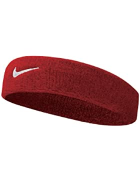 Nike Swoosh Head Bands cinta, todo el año, unisex, color rojo y blanco, tamaño talla única