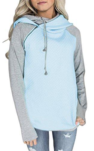 ECOWISH Damen Kontrastfarbe Pulli Pullover Rollkragen Sweatshirt Kapuzenpulli Top Hoodies Hellblau M
