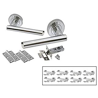 8 Sets Straight T Bar Door Handle Satin Stainless Steel Pack Internal Latch Set- by Haven