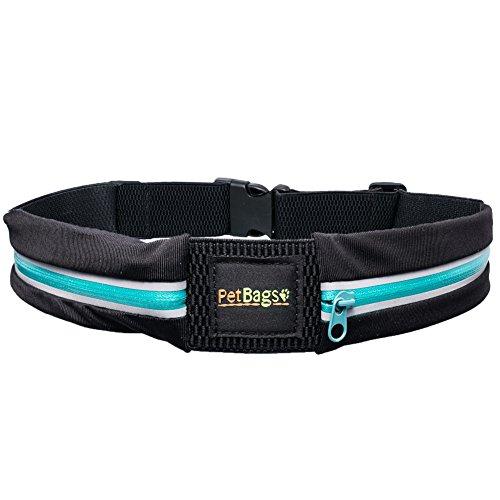 PetBagsTM die elastische Leckerlitasche aus wasserabweisenden Lycra Material, leichte Jogging - Bag, Laufgürtel - türkis