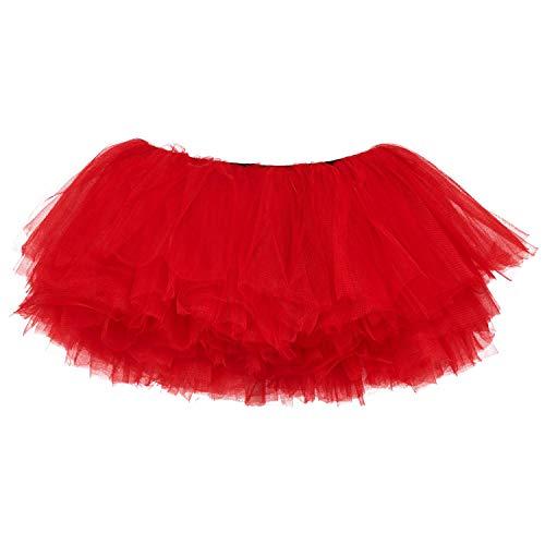 ock Tütü Rock Tutu Röcke Schick Kleid Ballett Petticoat 50er Jahre Party zum Abend Kostüme Erwachsene Weihnachten Halloween (5 Schicht, Rot) ()