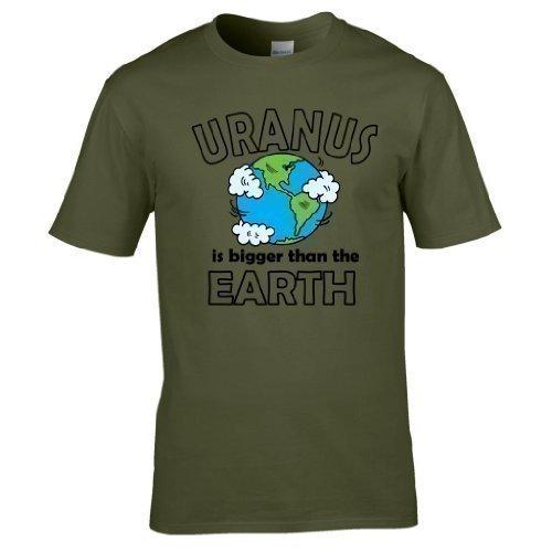 Naughtees kleidung - Uranus is größer als the Earth voll Bedrucktes T-shirt Olivgrün