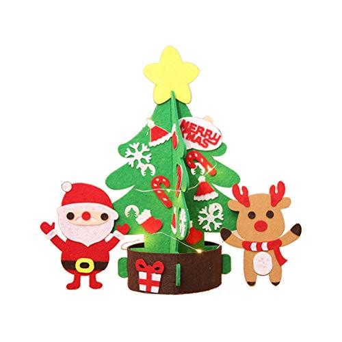 BESTOYARD Pre Lit Weihnachtsbaum Tisch Mini Weihnachtsbaum mit Rentier Schneemann Candy Cane Socken Dekoration Ornamente Größe L