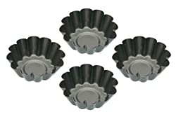 Kitchencraft Non-stick Round Mini Fluted Tart Tins Quiche Pans, 6 Cm (Set Of 4)