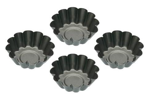Kitchen Craft Non-Stick Mini Fluted Tart Tins , Set of Four