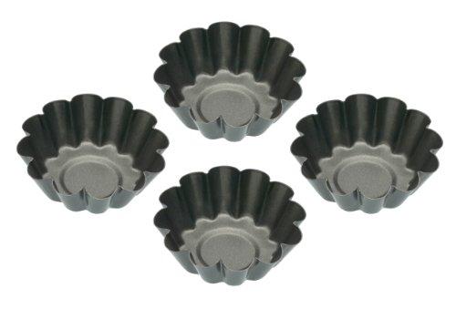 Kitchen Craft Mini-Kuchenform mit gewelltem Rand, antihaftbeschichtet, 4er-Set (Mini-tarte-kuchenform)