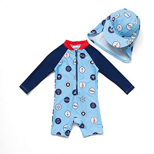 Bonverano Baby Junge EIN stück Langärmelige-Kleidung UV-Schutz 50+ Badeanzug MIT Einem Reißverschluss(Blau-Welle Punkte,24-36M)