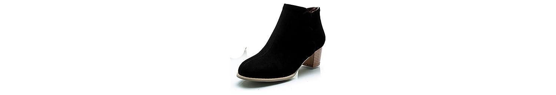 XIAOGANG H HFour Seasons Women (negro.) Marrón. (beige) botón matorral grueso talón botas cortas de goma resistente... -
