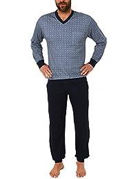 e8eb27bd7b Herren Pyjama Schlafanzug lang mit Bündchen in grossen Grössen (Übergrössen)