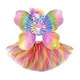 Amosfun 3 Unids Disfraz Hada Niña 3-8 Años Alas Mariposa Varita Mágica Diadema Hada y Falda de Tutú (Color de Arco Iris)