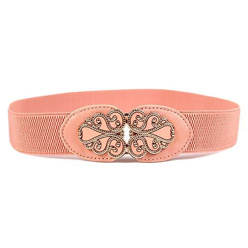DWUN[Y55 Mode Damen Stretch Stoffe Gürtel, Nicht Ledergürtel, geeignet für alle Jahreszeiten, perfekte Übereinstimmung Minirock, Rah-Rah Rock, Ballkleid, Mantel, Cocktailkleid - Light Pink - Ballkleid Light