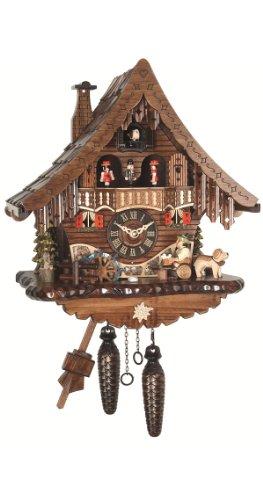 Reloj cucú de cuarzo Casa de la selva negra con bebedor de cerveza y rueda de molino que se mueven, con música EN 471 QMT