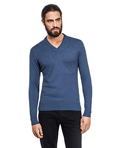 Vincenzo Boretti Herren-Pullover V-Ausschnitt slim-fit tailliert Strick-Pullover V-Neck einfarbig Baumwolle-Mix edel elegant leicht Fein-Strick für Business oder Casual blaugrau XXL