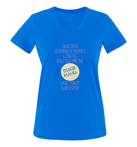 Comedy Shirts - Aus den Scherben meines Lebens, bau ich mir ne Disco Kugel und tanz darunter - Damen V-Neck T-Shirt - Royalblau / Rosa-Beige Gr. M