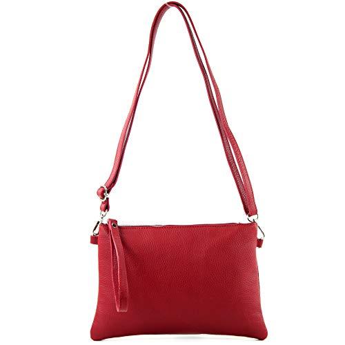 modamoda de - T186 - ital. Clutch/Umhängetasche Leder Medium, Farbe:Rubinrot Rot Tasche