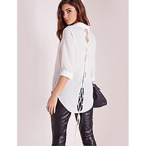 Signore Camicetta 2016 Estate Camicia Da Donna Increspato Colletto Manica Lunga Cotone , Beige-Xl , Beige-Xl