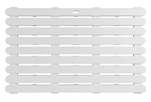 Wenko Indoor & Outdoor Badematte, Bodenrost für Dusche, Bad, Pool, Sauna mit Rutschhemmender Struktur, Kunststoff, Weiß, 80 x 50 x 0.1 cm