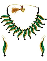 Anuradha Art Green-Gold Colour Classy Trendy Look With Handcrafted Terracotta Necklace Set For Women/Girls
