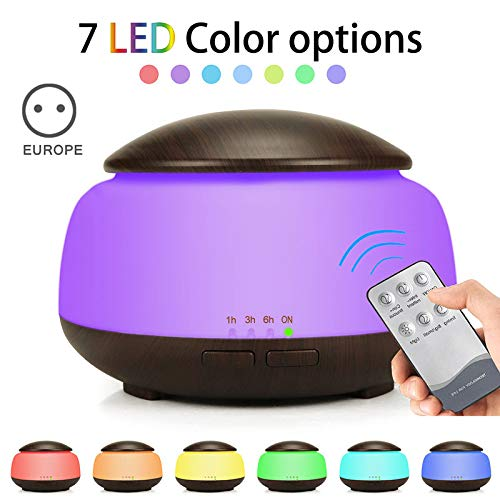 Vousmevoy Premium Essential Oil Aroma Diffuser Humidifier, Quiet 3 in 1  Remote Control 300ml Humidifier, Cool Mist Humidifier with 7 Color LED