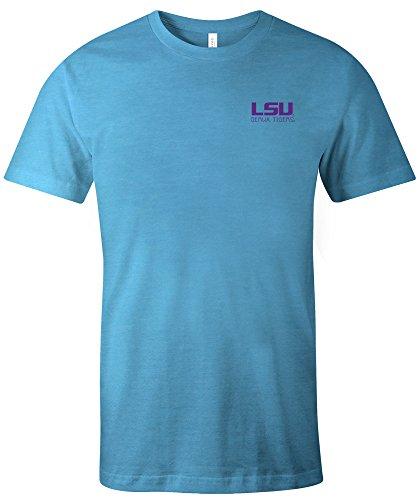 Image One NCAA LSU Tigers NCAA Aztekenmuster Quadratisch Kurzarm Triblend T-Shirt, Größe M, Aqua -