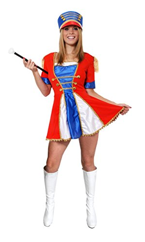 LADIES MAJORETTE COSTUME WOMENS TOY SOLDIER CHRISTMAS FANCY DRESS DRESS + TALL HAT CHEERLEADER OUTFIT