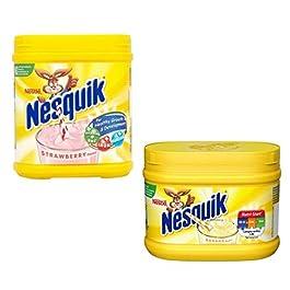 Nesquik Banana and Strawberry Milkshake Bundle   Enjoy This Delicious Combo   Banana Flavour 1 x 300g and Strawberry…