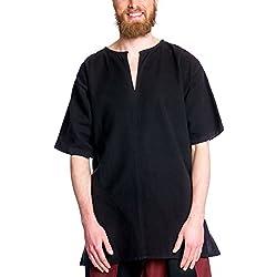 Túnica medieval de hombre manga corta negro - XXXL