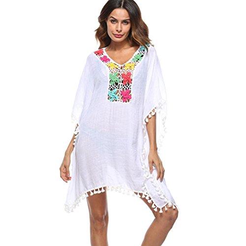OverDose Frauen Quaste lose große Größe Badeanzug Bikini Kleid Strand vertuschen Sonnenschutz Aufdecken Beach Cover Up (White,Free size ) (Frauen Badeanzug Cover Up Kleid)