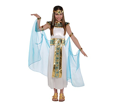 Kids Sizes: 4-6 Years; 6-8 Years; 8-10 Years (Height 134cm) The Cleopatra girls costume Includes a dress, headdress, collar, cape with armbands and cuffs Sandals not included Ideal for any Ancient History, Roman, Greek or Egyptian Queen Of The Nile t...