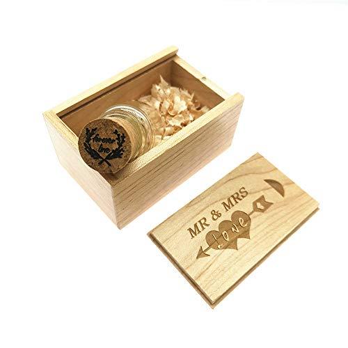 LXSINO 32GB USB Stick Glasflasche mit Holzbox, USB Stick Pendrive für Hochzeit, Freunde, Familie