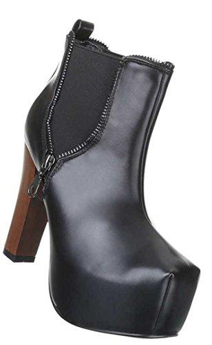 Damen Schuhe sexy Stiefeletten Platau High Heels Ankle Boots Schwarz Grau Braun Blau Beige 36 37 38 39 40 Nr 3 Schwarz