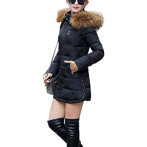 Chaqueta Abrigo Parka con Capucha de Invierno para Mujer Negro XL