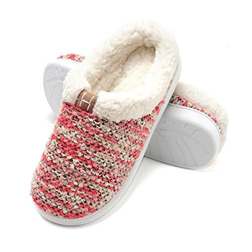 Zapatillas de Casa de Mujer Invierno - Zapatillas Casa Ultraligero Cómodo y Antideslizante, Zapatilla de Estar por Casa para Mujer Fluff Antideslizantes (Rojo, EU36/37)