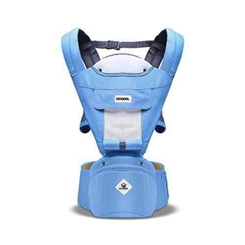 SONARIN Multifunktions Hipseat Babytrage, atmungsaktive Riemen, Ergonomische, 100% Baumwolle, Großraumlagerung, 11 tragende Positionen, sicher und komfortabel,Ideales Geschenk(Blauer See) (See-geschenke)