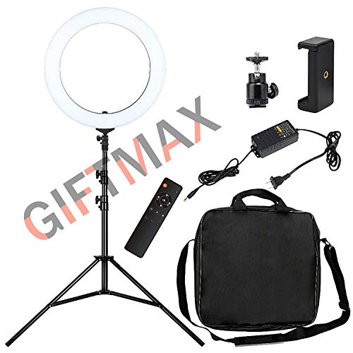 "GiftMax 18"" Inch LED Ring Lighting with 7 feet Stand and Wireless Remote, (18 inch Ring Light + Remote + Stand)"