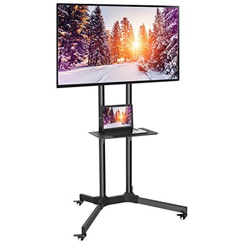 TV Standfuß, Mobiler TV Ständer mit 4 Rollen und Multimedia Regal, Höhenverstellbarer Fernsehwagen für 32-65 Zoll Fernsehr oder Monitor bis zu 60kg, Max. VESA 600 x 400mm