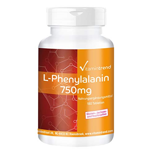 L-Phenylalanin 750mg - 180 Tabletten - vegan - hochdosiert (Aminosäuren, Die Nicht Gvo)