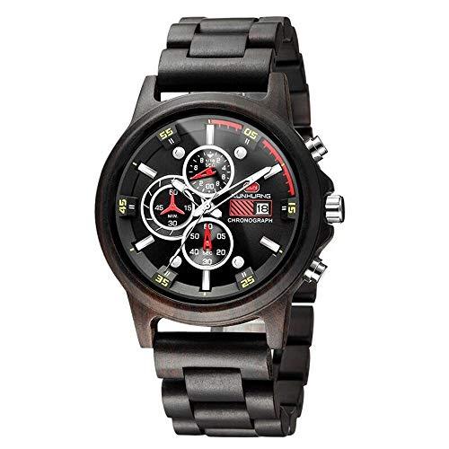 KUNHUANG Herren Natur Hölzerne Uhr Multifunktionale Quartz Analog Armbanduhr mit Kalender Anzeige Chronograph-Funktion Hölzerne Armband für Männer Uhren (Schwarzes Sandelholz)