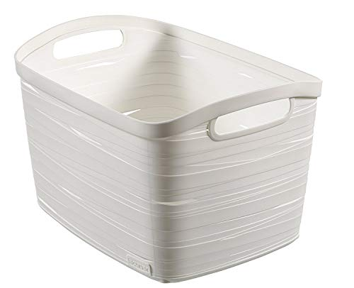 CURVER 00719-X07-00 Aufbewahrungskorb Ribbon, Plastik, weiß, 38.5 x 28 x 24 cm
