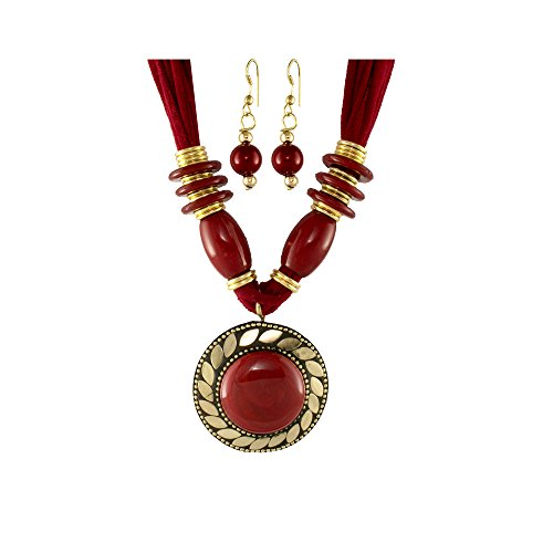 Unicorn Red Color Oxidized Junk Ethnic Beaded Jewellery Necklace with earrings For Girls & Women - UEFYNE30100R  available at amazon for Rs.399