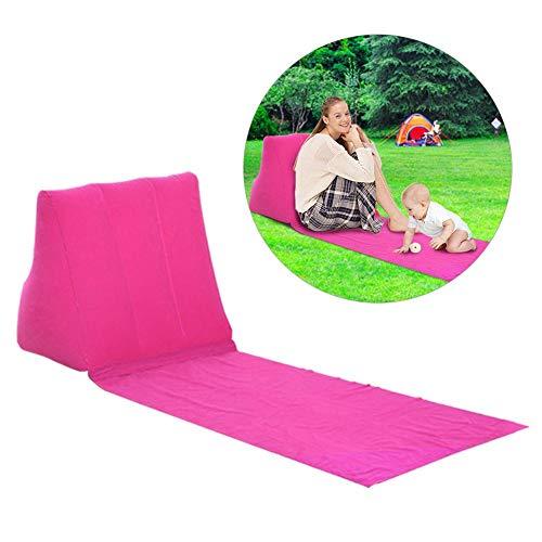 Strandmatte aufblasbare Sonnenliege Strandbett Klappbar Gartenbett Dreiecks-Sonnenbadematte Rückenkissen Kissen Stuhl für Picknick Camping, Rose ()