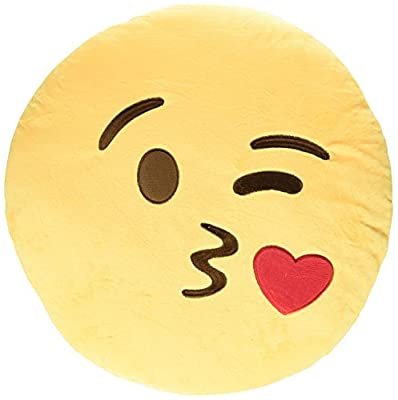LI&HI 32cm Emoji Smiley Emoticon Yellow Round Cushion Pillow Stuffed Plush Soft Toy - cheap UK light store.