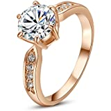 Yoursfs 1.5CT Simulated Diamond Engagement Rings in 18K Rose Gold Plated Six Claw Setting Gorgeous Gift